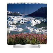 Composite View Of Colony Glacier W Shower Curtain