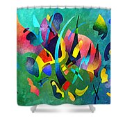 Composition In Blue And Green Shower Curtain