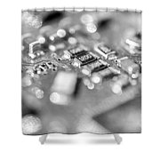 Computer Board High Key Black And White Shower Curtain