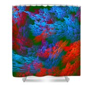Computer Generated Abstract Red And Green Fractal Flame Shower Curtain