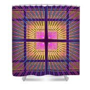 Computer Generated Fractal Squares Geometric Pattern Shower Curtain