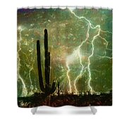 Computer Generated Image Of Lightening Shower Curtain