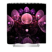Computer Generated Pink Abstract Bubbles Fractal Flame Art Shower Curtain