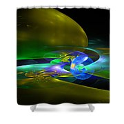 Computer Generated Planet Sphere Abstract Fractal Flame Modern Art Shower Curtain