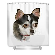 Computer Generated Portrait Of A Dog Shower Curtain