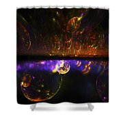 Computer Generated Red Blue Abstract Fractal Flame Modern Art Shower Curtain