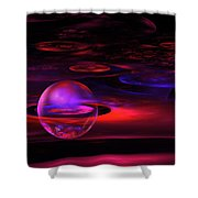 Computer Generated Sphere Red Abstract Fractal Flame Art Shower Curtain
