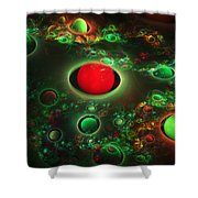 Computer Generated Spheres Abstract Fractal Flame Modern Art Shower Curtain