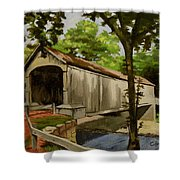 Comstock Covered Bridge East Hamptom Connecticut Shower Curtain