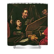 Concert With Musicians And Singers, C.1625 Oil On Canvas Shower Curtain