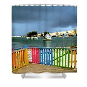 Conch Boats Arriving Shower Curtain