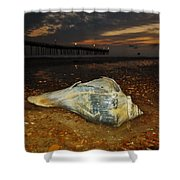Conch Shell And Pier Predawn 2 10/18 Shower Curtain