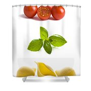 Conchiglioni Pasta Shells Tomatoes And Basil Leaves  Shower Curtain