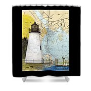 Concord Pt Lighthouse Md Nautical Chart Map Art Cathy Peek Shower Curtain