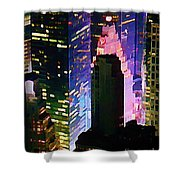 Concrete Canyons Of Manhattan At Night  Shower Curtain