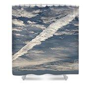 Condensation Trails - Contrails - Airplane Shower Curtain