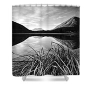 Cone Shaped Mountain Reflected In Lake At Sunset Shower Curtain
