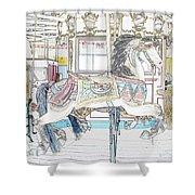 Coney Island Carousel Shower Curtain