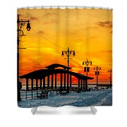 Coney Island Winter Sunset Shower Curtain