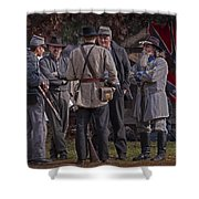 Confederate Civil War Reenactors With Rebel Confederate Flag Shower Curtain