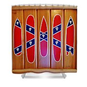 Confederate Flag Surfboards And Skulls Hand Painted By Mark Lemmon Shower Curtain