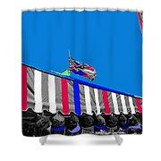 Confederate Flag Us Flag Line Of Hats Tucson Arizona Color Added Shower Curtain