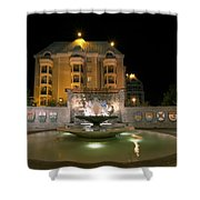 Confederation Fountain In Victoria Bc With Code Of Arms Shower Curtain