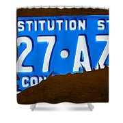 Connecticut State License Plate Map Shower Curtain