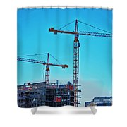 construction cranes HDR Shower Curtain