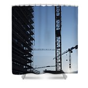 Construction Cranes In Backlit Shower Curtain