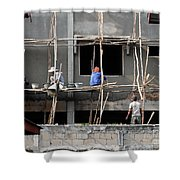 Construction Crew In Laos Shower Curtain