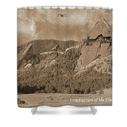 Construction Of The Flatirons - 1931 - Sepia Shower Curtain