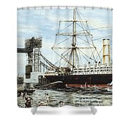 Construction Of Tower Bridge Shower Curtain