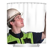 Construction Worker In Safety Jacket Shower Curtain