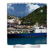 Container Ship St Maarten Shower Curtain