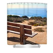 Contemplation Bench At The Oceans Edge Shower Curtain