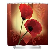 Contemporary Wild Poppies Shower Curtain