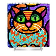 Contented Cat Shower Curtain by Steven Scott
