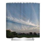 Contrail Clouds Shower Curtain