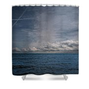 Contrails And Rainclouds Over Lake Michigan Shower Curtain