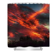 Contrails And Sunset Shower Curtain