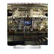 Control Board Engine Room Queen Mary Ocean Liner Long Beach Ca Shower Curtain