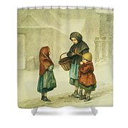 Conversation In The Snow Shower Curtain by Pierre Edouard Frere