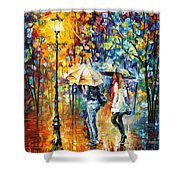 Conversation - Palette Knife Oil Painting On Canvas By Leonid Afremov Shower Curtain