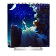 Conversation With The Moon Shower Curtain