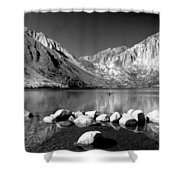 Convict Lake Pano In Black And White Shower Curtain