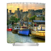 Conwy Castle And Harbour Shower Curtain