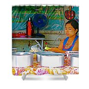 Cooking In The Marketplace In Tachilek-burma Shower Curtain