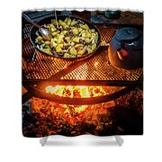 Cooking Meat And Potatoes Shower Curtain