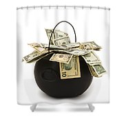 cooking Pot full of Money White Background Shower Curtain